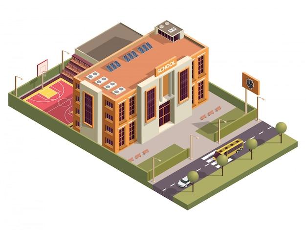 Prédio isométrico da escola com placa de relógio e chão de basquete ao longo da rua do veículo.
