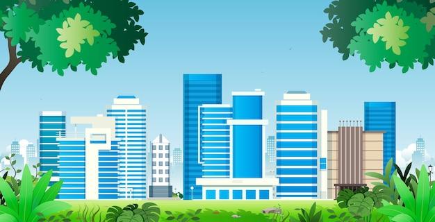 Prédios de escritórios e condomínios no meio da natureza