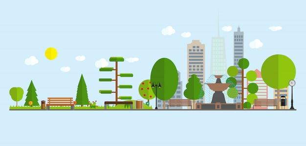 Prédios de escritórios urbanos da cidade da skyline da rua da paisagem e parques com árvores.