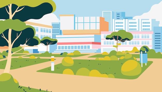 Prédios do campus da universidade com um grande parque verde limpo ao redor do campus