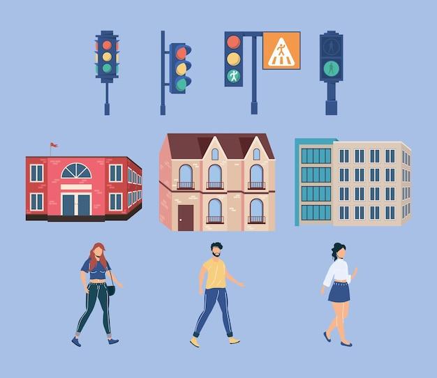Prédios e pedestres com semáforos