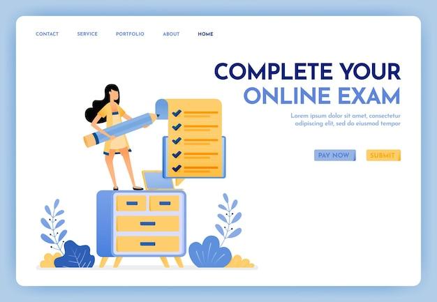 Preencha a página de destino do seu exame online