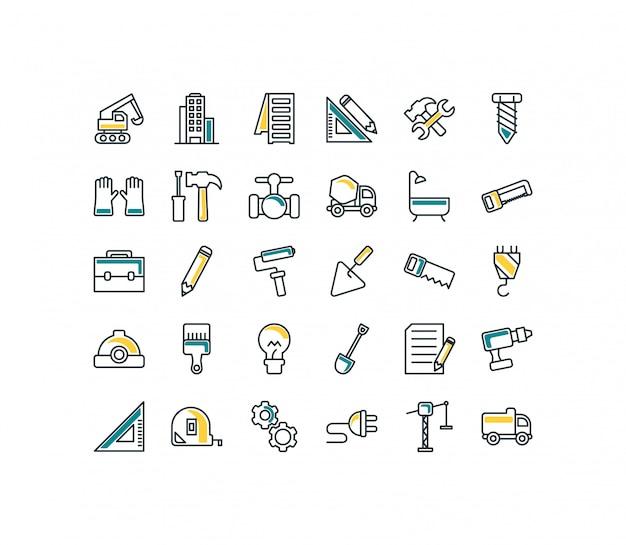 Preenchimento de conjunto de ícones de construção isolada