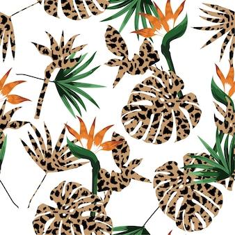 Preenchimento de leopardo de pele de animal com padrão de selva tropical