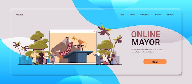 Prefeito árabe com chave dando discurso da tribuna na tela do laptop conceito de declaração pública cópia horizontal espaço ilustração vetorial