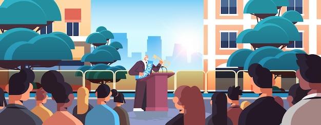 Prefeito com chave dando discurso da tribuna conceito de declaração pública horizontal paisagem urbana de fundo Vetor Premium