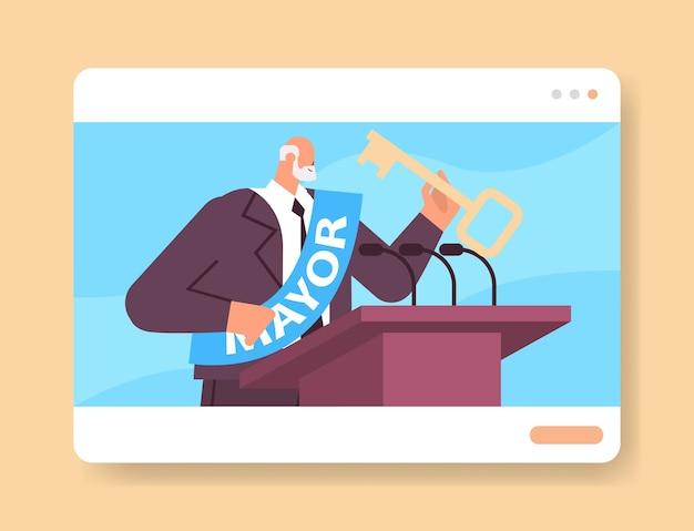 Prefeito com chave dando discurso da tribuna na janela do navegador da web retrato do conceito de declaração pública