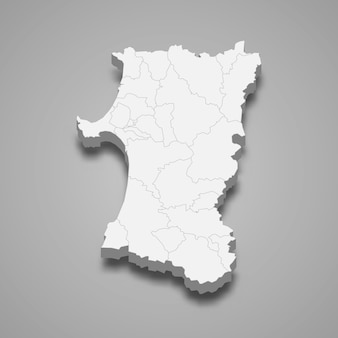 Prefeitura de mapa 3d do japão