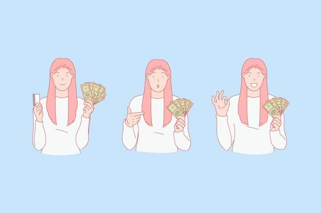 Preferência em dinheiro, titular do cartão de crédito, conceito de cliente do banco