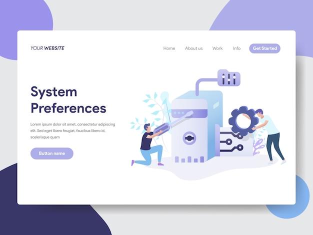 Preferências do sistema definindo ilustração para páginas da web