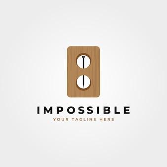 Prego impossível no design do logotipo de madeira