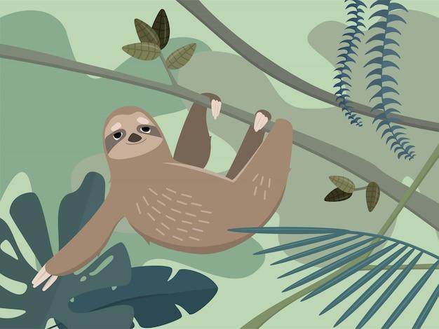 Preguiça bonita na floresta tropical da selva. ilustração colorida em estilo cartoon.