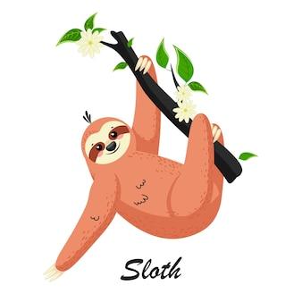 Preguiça bonito dos desenhos animados em uma floresta tropical em um galho de árvore. pode ser usado para cartões, folhetos, cartazes, camisetas.