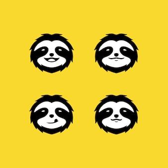 Preguiça cara logotipo definido em amarelo