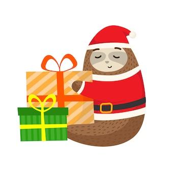 Preguiça com pano de papai noel e o presente de natal