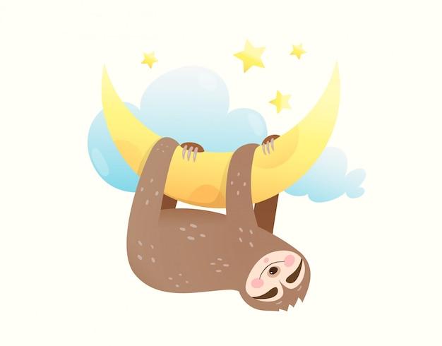 Preguiça de bebê dormindo olhos fechados, feliz sorrindo no sonho pendurado na lua. filhote de animal doce sonhando com estrelas e lua.