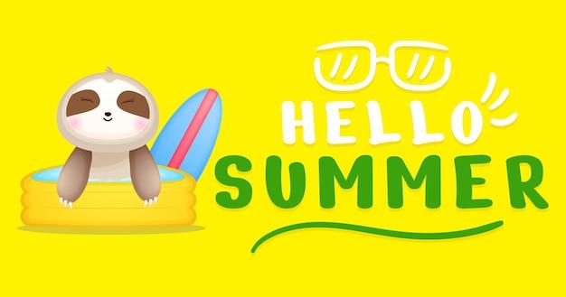 Preguiça de bebê fofo com banner de saudação de verão