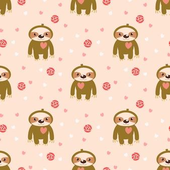 Preguiça de bebê fofo e coração rosa sem costura padrão.