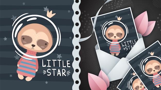 Preguiça de espaço - idéia para cartão.