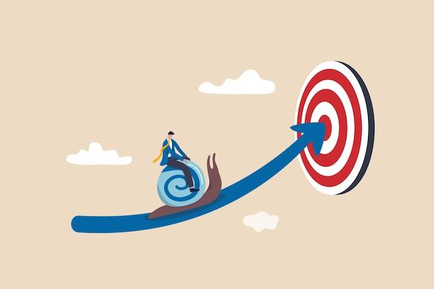 Preguiça de progresso lento de negócios ou procrastinação improdutiva ou eficiência