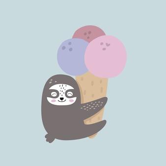 Preguiça engraçada e sorvete