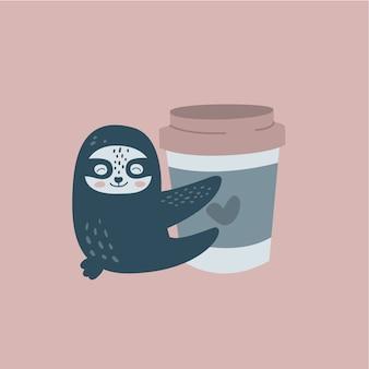 Preguiça engraçada e uma xícara de café