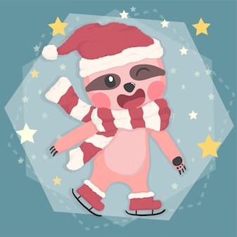 Preguiça feliz bonita em traje de inverno natal patinando em estrela caindo, animal de desenho vetorial plana