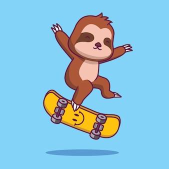 Preguiça fofa brincando de ilustração de desenho de skate Vetor Premium