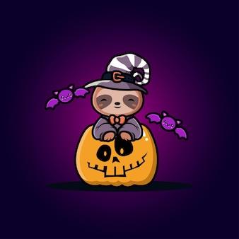 Preguiça fofa com desenho de abóbora de halloween