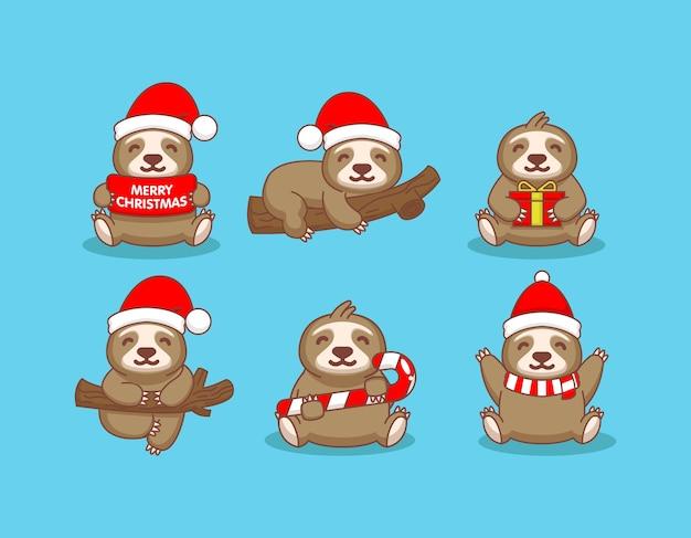 Preguiça fofa com fantasia de natal