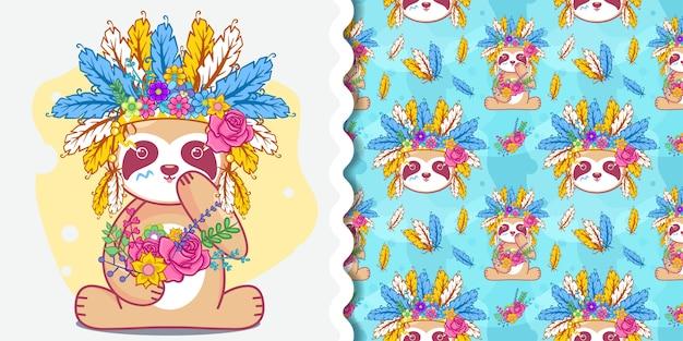 Preguiça fofa desenhada de mão, cartão, ilustração vetorial de convite