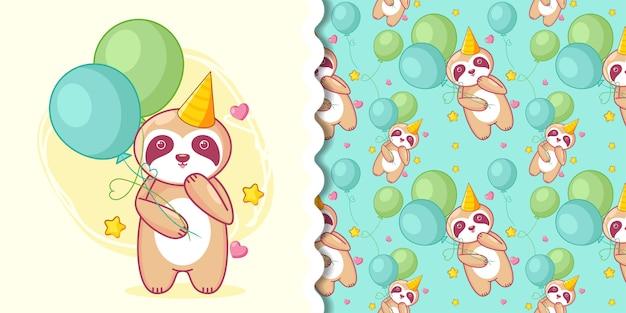 Preguiça fofa desenhada de mão e balões com conjunto padrão