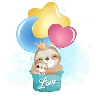 Preguiça fofa mãe e bebê voando com balão de ar