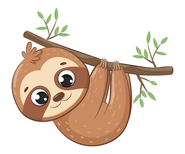 Preguiça fofa pendurada em um galho de árvore. desenho animado