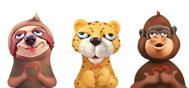 Preguiça, leopardo, macaco, rostos adoráveis, personagens de desenhos animados. animais fofos, arte vetorial