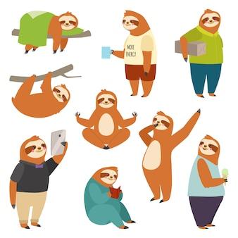 Preguiça preguiça personagem animal diferente humano pose preguiçoso cartoon kawaii selvagem selva mamífero design plano ilustração pessoas vida papel