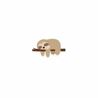 Preguiça preguiçosa dormindo em um design plano de filial