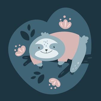 Preguiça preguiçosa dos desenhos animados que relaxa na árvore