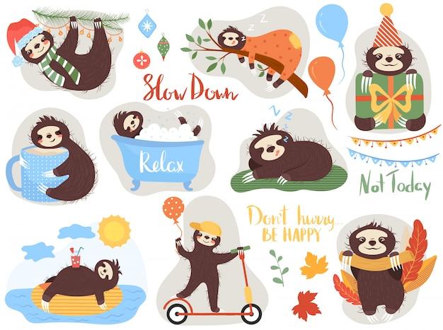 Preguiça preguiçosa, personagem de desenho animado animal bonito, ilustração