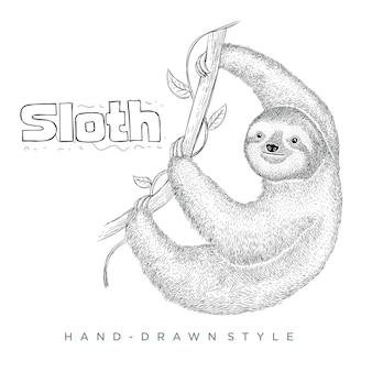 Preguiça subindo em uma árvore. ilustração animal desenhada à mão