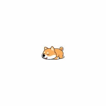 Preguiçoso shiba inu cachorro dormindo ícone vector