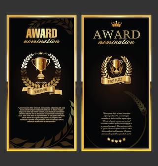 Prêmio banner retrô dourado