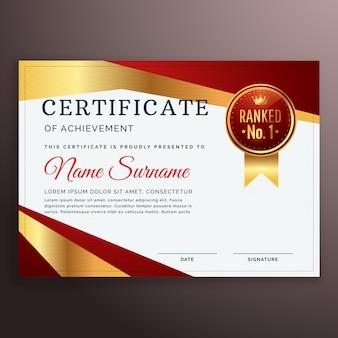 Prêmio certificado vermelho modelo de design com tira dourada