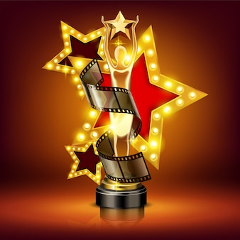 Prêmio cinema de composição realista com estatueta de filme e estrela brilhante no palco com luzes e sombras