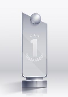 Prêmio conceito realista com símbolos de vitória e pedestal vencedor