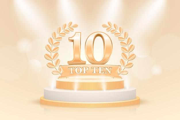 Prêmio criativo dos dez melhores pódio