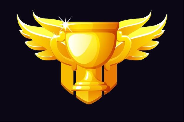 Prêmio da taça de ouro com asas para o vencedor dos jogos da interface do usuário. prêmio de ilustração pela vitória, ícone de luxo