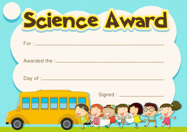 Prêmio de certificado com crianças e fundo de ônibus escolar