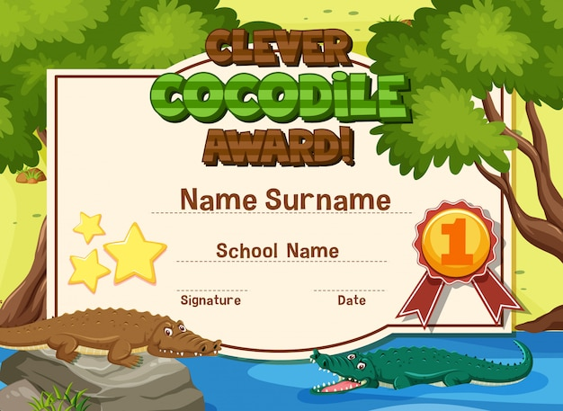 Prêmio de crocodilo inteligente de design de modelo de certificado com crocodilos no rio