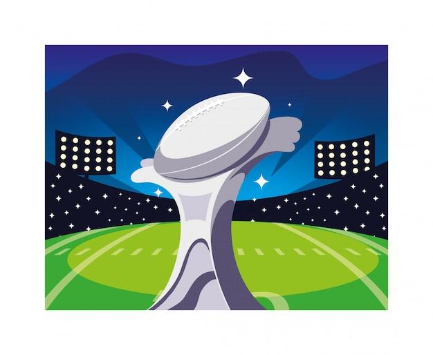 Prêmio de esportes de futebol americano no estádio de futebol